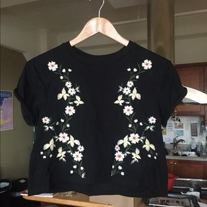 Topshop Crop Top with Embroidered Floral Design